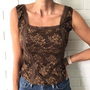 Vintage brown floral lace lingerie tank top M